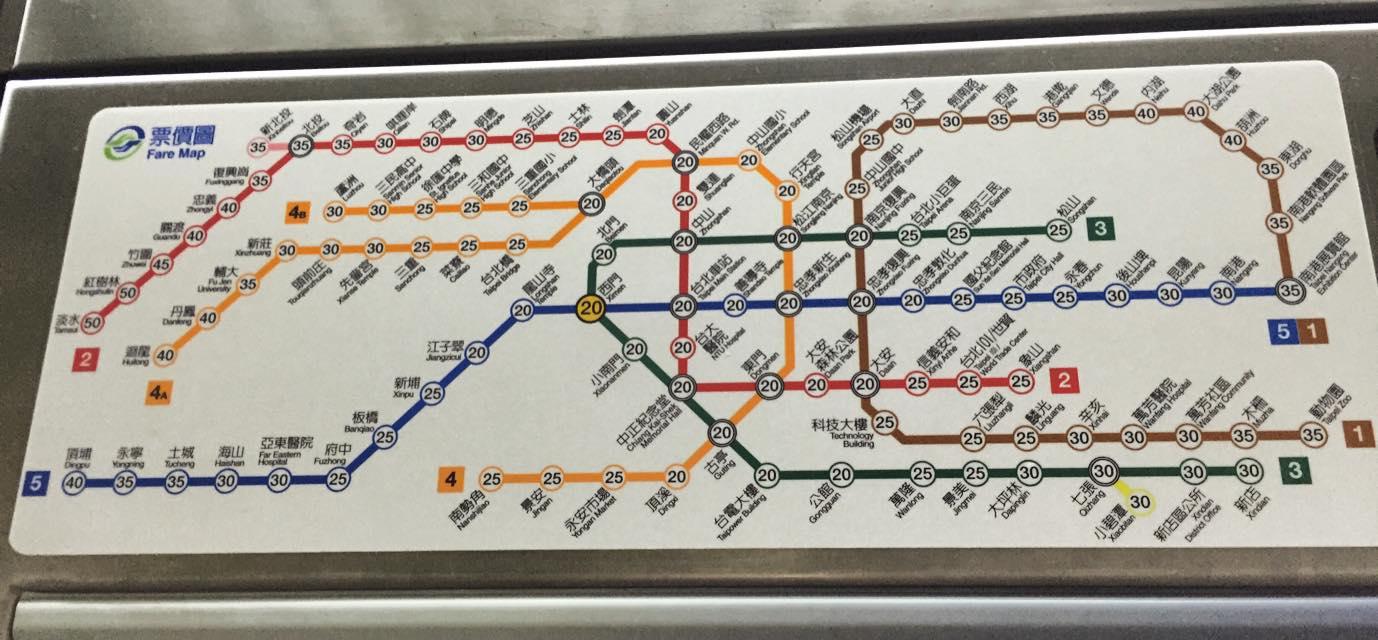 台北の地下鉄路線図+料金