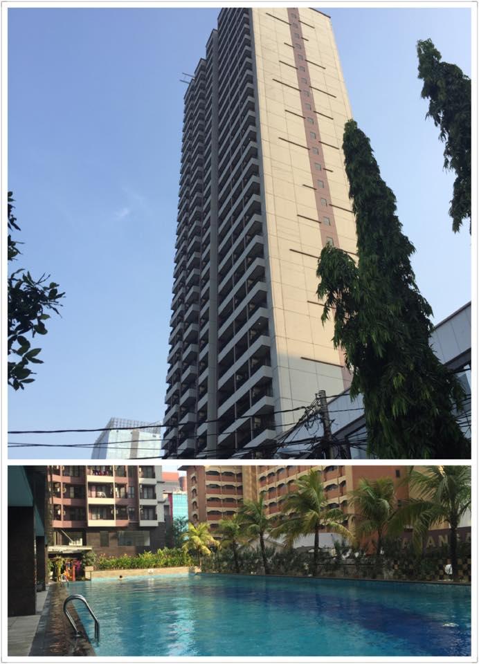 ジャカルタのアパートメント外観・プール